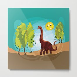 Happy Brachiosaurus Metal Print