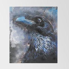 Crow art #crow #bird #animals Throw Blanket