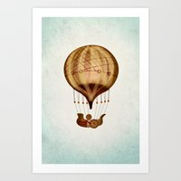 hot air balloon Art Prints featuring Hot Air Balloon Pioneer by Squeaky Studio