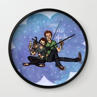 fault in our stars Wall Clocks featuring The Fault in Our Stars by Sarah Hopkins