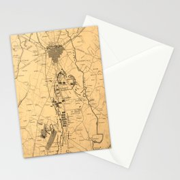 Vintage Map of The Gettysburg Battlefield (1863) 2 Stationery Cards
