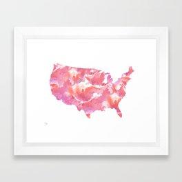 Pink USA Watercolour Map Framed Art Print
