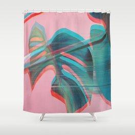 Glitch Monstera Theme Shower Curtain