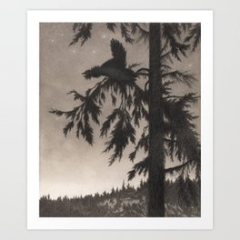 The Capercaillie Playing Theodor Kittelsen Art Print