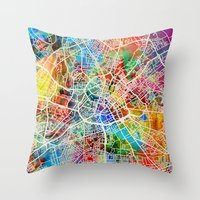 manchester Throw Pillows featuring Manchester England Street Map by artPause