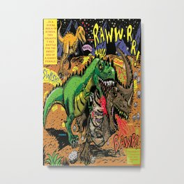Space Chick & Nympho: Vampire Warrior Party Girl Comix #1- Tyrano the Dinosaur-God  in Comic Page  Metal Print