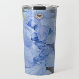 Blue Clematis Flowers on Knotted Fence Post Travel Mug