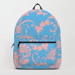 Vintage chic blue coral pink floral damask Backpack