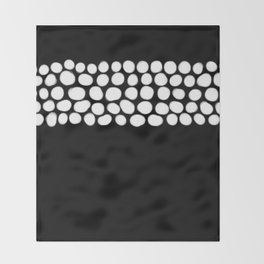Soft White Pearls on Black Throw Blanket