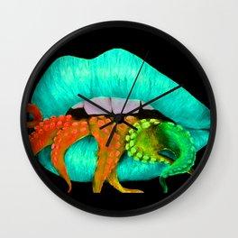 Blue Octo Lips Wall Clock