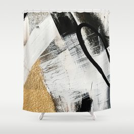 Armor [9]: a minimal abstract piece in black white and gold by Alyssa Hamilton Art Shower Curtain