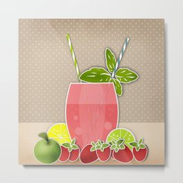 Retro design. Fresh drink Metal Print