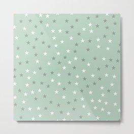 mint green stars Metal Print