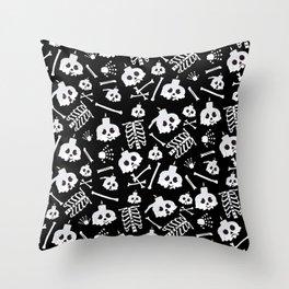 Halloween Skeleton Skull Bones Pattern Throw Pillow