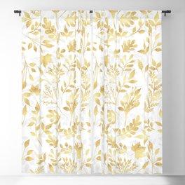 Elegant Gold Foliage White Design Blackout Curtain