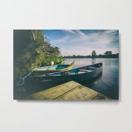Canoe and Row Boat tethered on the River Thames Metal Print