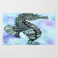 tatoo Area & Throw Rugs featuring Tatoo Seahorse by PepperDsArt