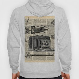 nautical compass dictionary print steampunk skeleton keys antique camera Hoody