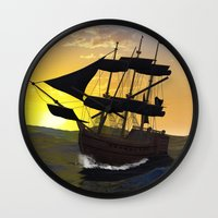 pirate ship Wall Clocks featuring Pirate ship  by nicky2342