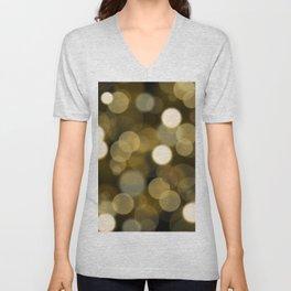 Abstract black gold color modern unfocused lights Unisex V-Neck
