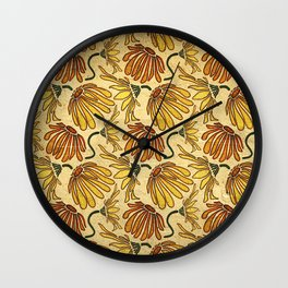 Retro 70's Golden Yellow Daisy Pattern  Wall Clock