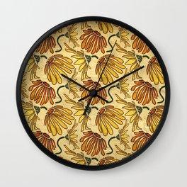Retro 70's Golden Yellow Daisy Pattern  Wall Clock