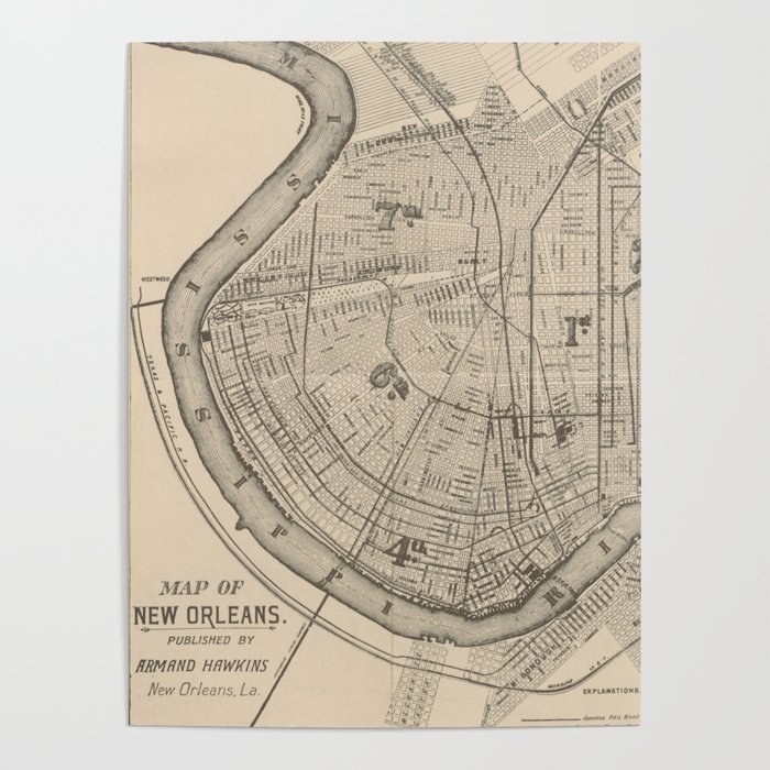 vintage new orleans map Vintage Map Of New Orleans Louisiana 1885 Poster By Bravuramedia vintage new orleans map