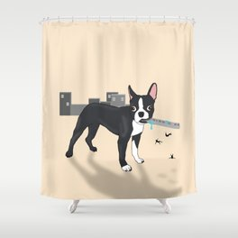 Attack of the Colossal Boston Terrier!!! Shower Curtain