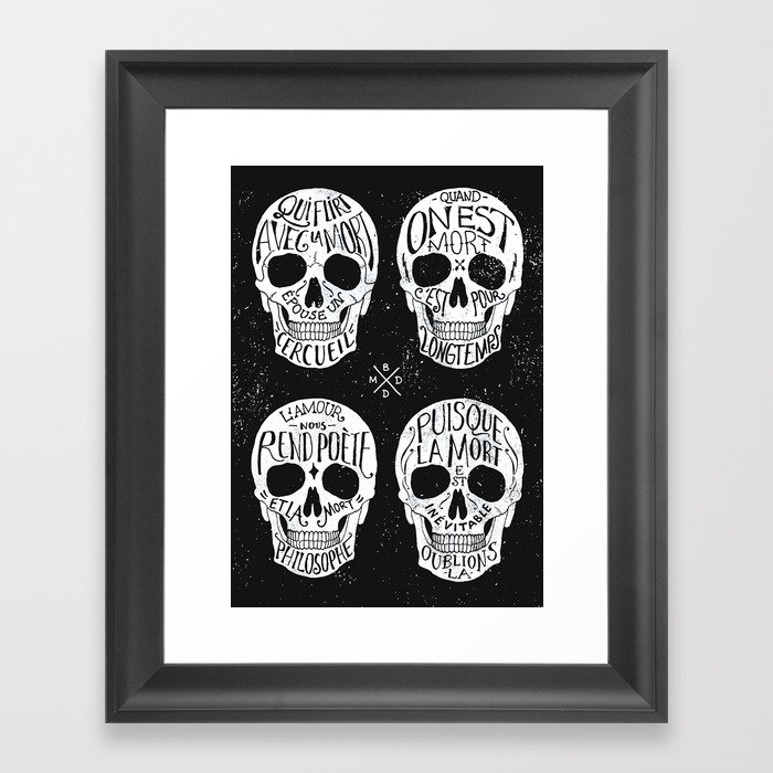 Skulls Quotes Framed Art Print