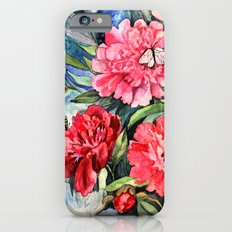 watercolor peonies Slim Case iPhone 6