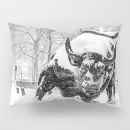 The Charging Bull, In the snow. Pillow Sham