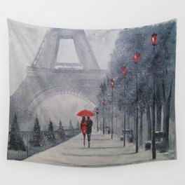 Paris in the snow Wall Tapestry