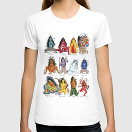 Her Moods - Watercolor Chart of the Emotions of the Female Mind T-shirt