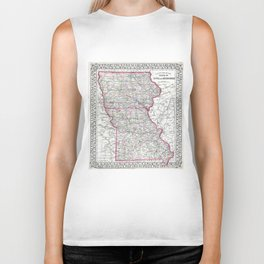 Vintage Iowa and Missouri Map (1874) Biker Tank