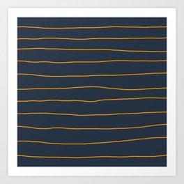 Orange Lines on Petrol Art Print