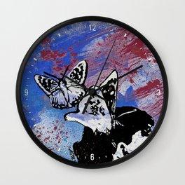 Long Gone Whisper III: Blue (butterfly girl spray paint graffiti painting) Wall Clock