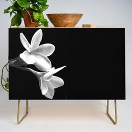 White Flowers Black Background Credenza