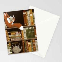 fox bookshelf Stationery Cards