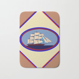 A Nautical Scene with Clipper Ship with Taupe Background Bath Mat