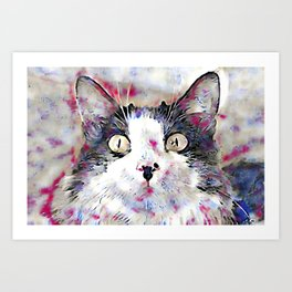 watercolor kitty Art Print