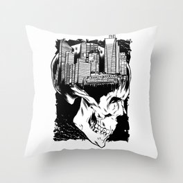 City Skull Throw Pillow