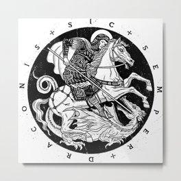 SIC SEMPER DRACONIS - B&W Metal Print