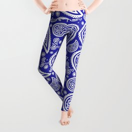 Paisley (White & Navy Blue Pattern) Leggings