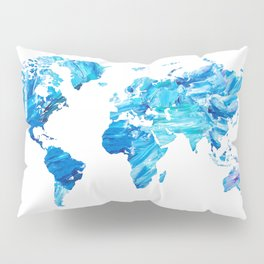 Abstract Blue World Map Painting Pillow Sham