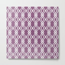 Lavender and white curved lines Metal Print