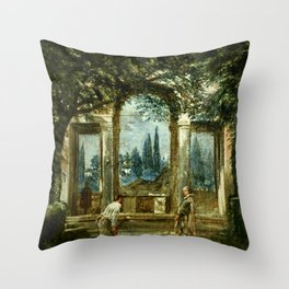 "Diego Velázquez ""View of the Garden of the Villa Medici in Rome (The Sleeping Ariadne)"" Throw Pillow"