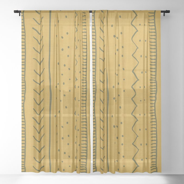Moroccan Stripe in Mustard Yellow Sheer Curtain by ...