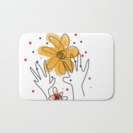 HAND AND FLOWERS Bath Mat