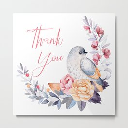 Bird and flowers bouquet thank you typography Metal Print