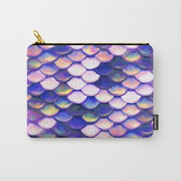 Rose Purple Mermaid Scale Pattern Carry-All Pouch